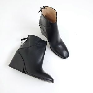 NEW Zara leather wedge block square ankle boot 6
